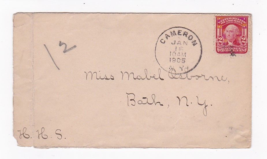 CAMERON NEW YORK JANUARY 16 1905 ON 2C RED WASHINGTON