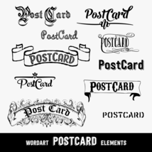 Vintage PostCard Design Elements, Word Arts, 10 PNG Clip Arts, CU4CU - $5.00