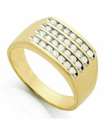 Diamante Redondo Racimo 4 Fila Cuadrado Hombres Alianza 14k Yellow Oro M... - $105.29