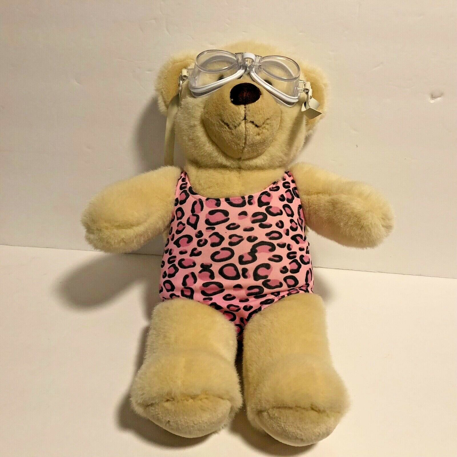 """Build A Bear Cream Colored Bear in Swimsuit & Goggles 14"""" tall Pink Animal Print - $12.20"""