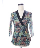 Womens Daisy & CLover Green and Black Floral Mesh Blouse Petite M PM Top - $18.00