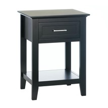 Side Table Black, Wood Sofa Storage Side Tables With Drawers, With Display Shelf - $131.19