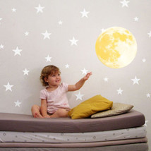 30cm 3D Large Moon Fluorescent Wall Sticker Removable Glow In The Dark Yellow - $23.36