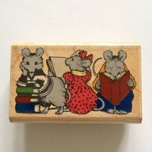 Bookshelf Mice Rubber Stamp Mouse Reading Library Teacher Books Smart Wo... - $6.44
