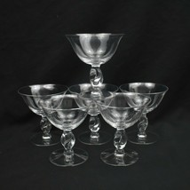Imperial Glass Ohio Champagne Coupe Twist Clear Sherbet Glasses Twisted ... - $35.17