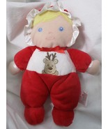 Prestige Baby Plush DOLL Rattle Toy LOVEY Blonde Red Reindeer Christmas  - $6.92