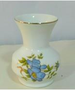 Vintage Leart Miniature Bud Vase Floral Lavender Gold Trim Brazil - $18.11