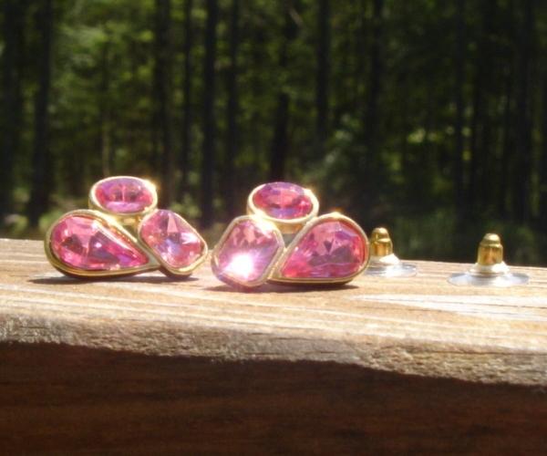 Vintage Pink Trifari TM Rhinestone Crystal Nugget Cluster Earrings