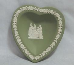 Wedgwood England Green Jasperware Heart Shape Pin Dish - $8.91