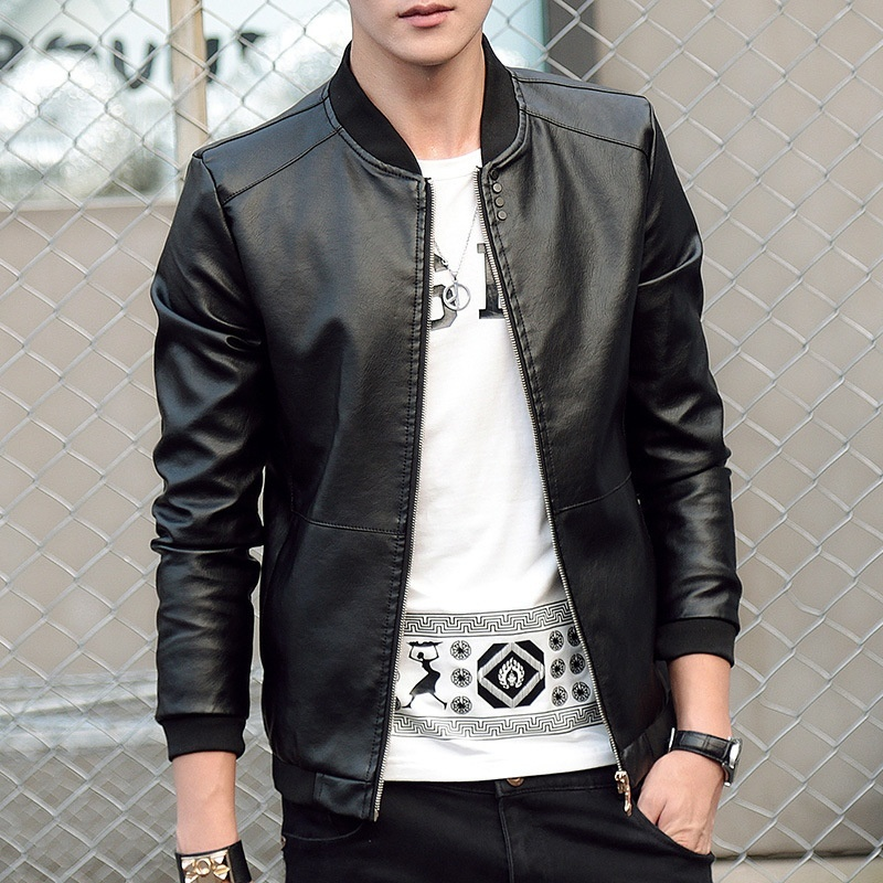 3 Colors Men's New Fashion Slim Fit PU Jacket Male Brand Quality  Zipper Casual