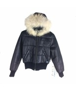 0553RL-S BLACK, AZZURE WOMEN'S BOMBER JACKET WITH HOODIE AND FUR - $499.00