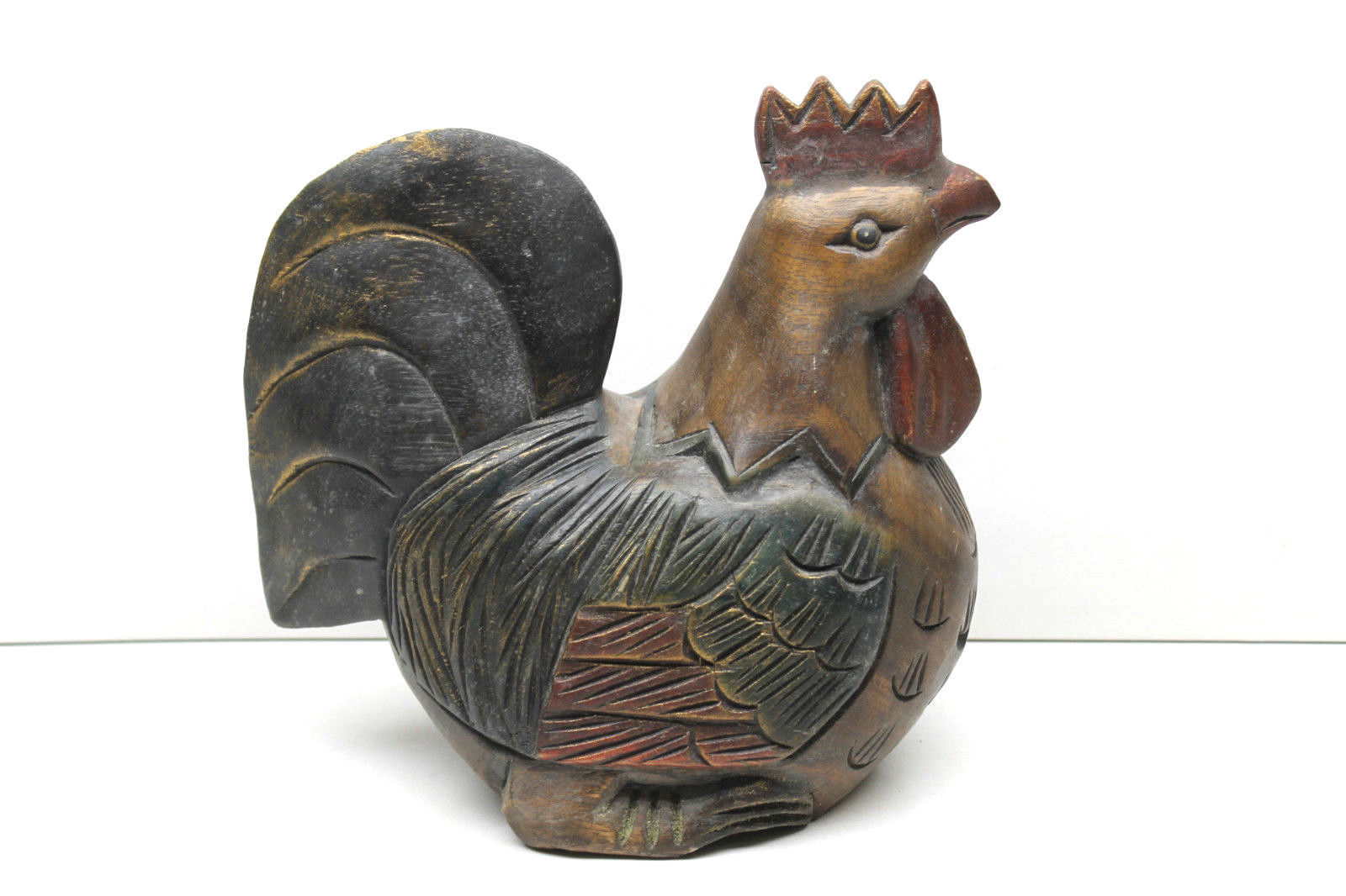 Vintage Hand Carved Mahogany Hen Chicken Figure Woodenware Farm Animal Carving
