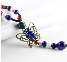 Boho Style Ceramic Necklace   Handmade Ceramic Beaded Necklace   Turquoi... - $16.99