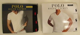 3 POLO RALPH LAUREN S M L XL SLIM FIT COTTON BLACK WHITE BLUE V NECK T S... - $32.90