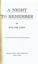 A Night To Remember by Walter Lord - $8.95