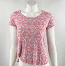 Market & Spruce Top Size XS Pink Blue Ikat Print Pocket Tee Shirt Womens - $11.88