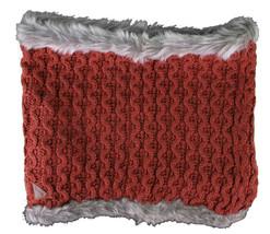 Bench Urbanwear Hasta Red Acrylic Scarf Gray Faux Fur Trim Neck Gaiter Warmer image 2