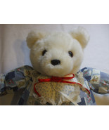 White Plush Teddy Bear 21 Inch Tall  Wearing Country Outfit - $30.00