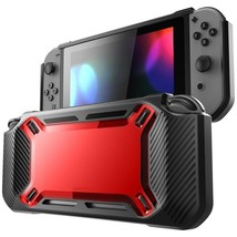 SCHWERLAST GUMMI Stoßfest Schutzhülle Nintendo Schalter blackred B14 - $14.94