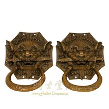 An item in the Antiques category: Vintage Chinese Old Fashion Brass Foo Dog Door knob 19LP89