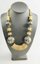 "23"" ESTATE VINTAGE Jewelry BOHO TRIBAL BOVINE BONE & METAL STATEMENT NEC... - $10.00"