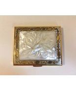 Vintage Powder Compact Mirror Carved Flower Mother of Pearl Case Box Gol... - $100.00