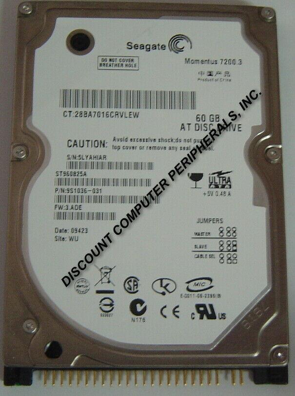 "NEW Seagate 60GB ST960825A Hard Drive 2.5"" 7200RPM IDE 44PIN Free USA Ship"