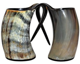 Set Of Two Viking Natural drinking Horn Mugs for beer wine Tankard - $29.70