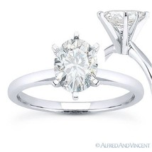 Oval Brilliant Cut Moissanite 14k White Gold 6-Prong Solitaire Engagemen... - £336.78 GBP+