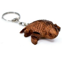 Hand Carved Ironwood Wood Folk Art Country Western 3D Horned Toad Keychain image 2