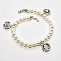 Bracelet 925 Silver With Pearls Of Water Dolce Cameo Cameo Zircon Cubic - $215.55