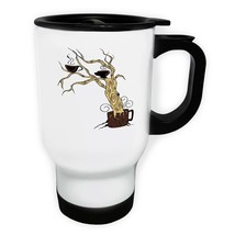 Coffee Tree Funny Novelty New White/Steel Travel 14oz Mug hh33t - $17.79