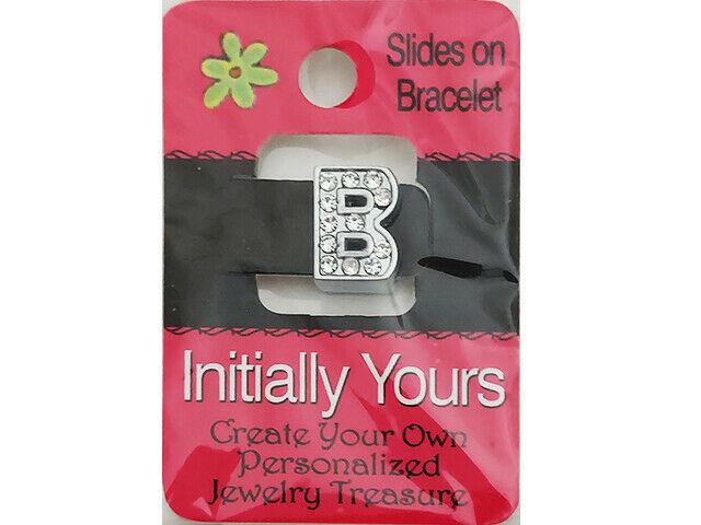 Initially Yours Rhinestone Letter Bracelet Slide, Letter B
