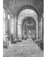 ITALY Mantua Interior Church of San Andrea by Alberti - 1888 Original Print - $30.60