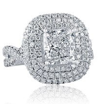 3.52 Ct Cushion Cut Halo Natural Diamond Engagement Infinity Ring 18k Wh... - €7.779,36 EUR