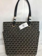 New Michael Kors Jacquard Logo Jet Set Handbag 38H7XTTT2J Tote BG/Black ... - $108.89