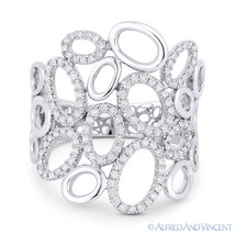 0.35ct Round Diamond Pave Right-Hand Oval Cluster Fashion Ring in 14k Wh... - $1,019.99