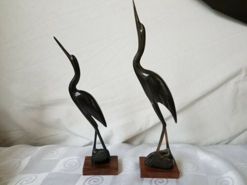 "Primary image for Pair Carved Horn Crane Birds Wood Bases India Art Mid Century 10"" 12"""