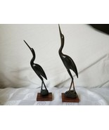 "Pair Carved Horn Crane Birds Wood Bases India Art Mid Century 10"" 12"" - $61.70"