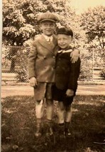 Antique Vintage Photograph Little Boys Wearing Cool Hats and Shorts in Yard - $5.35