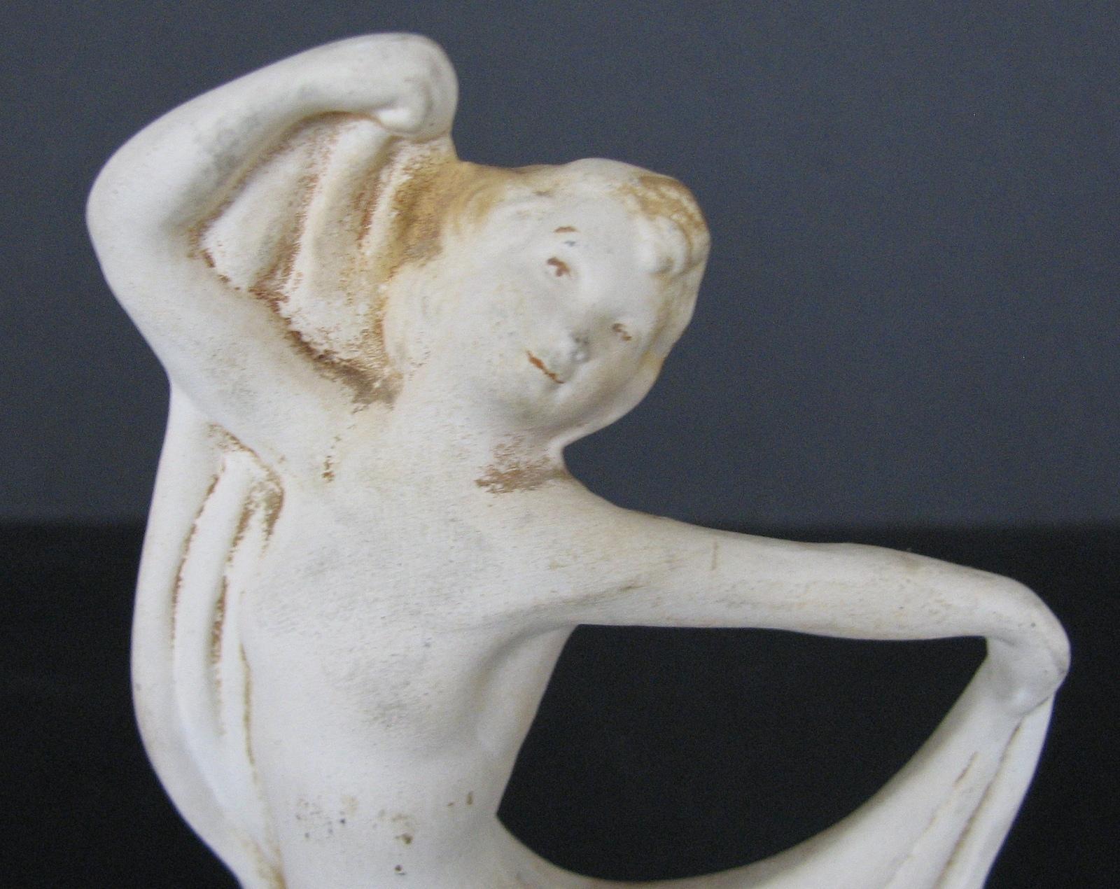 Art Deco Figurine Scarf Dancer Chalkware As Is