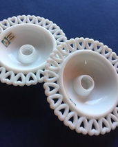 Pair of 50s Lindshammar white taper candle holders by Gunnar Ander image 5