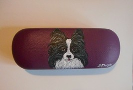 Papillon dog Portrait Eyeglass Glasses Spectacles Case Hand Painted - $34.00