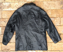 $695 Kenneth Cole New York Leather Jacket, Black, Size L - $296.99