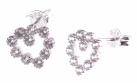 Dolce Vetra Stering Silver Open Cubic Zirconia Crystal Heart Stud Post Earrings image 1