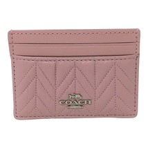 NWT COACH Card Case Wallet Quilting Quilt Leather Carnation Pink Silver ... - $38.61
