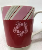 Starbucks holiday 2007 Red Pink White Candy Cane Mug Cup Peppermint 10 Oz - $6.65
