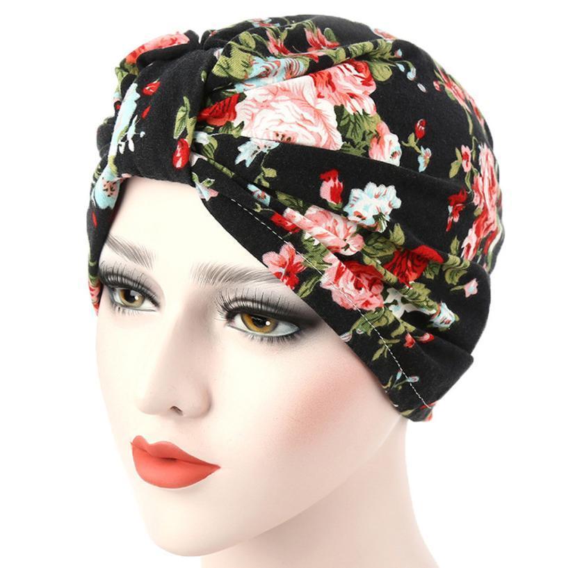 c33fb5e6b6d Women muslim flowers hat chemo cap hair loss head scarf wrap hijib cap  fashion cute gorras