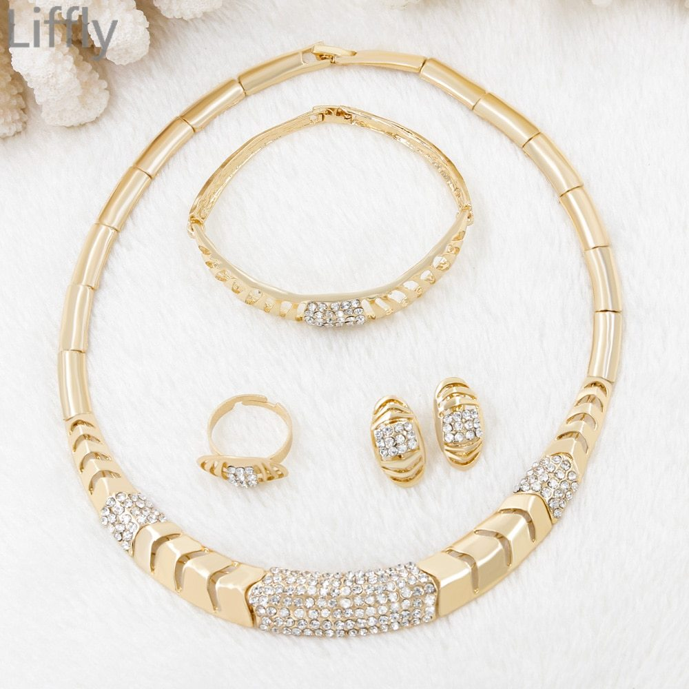 Primary image for Hot Gold Jewelry Sets Indian Charm Women Crystal Necklace Ring Earrings Birthday