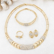 Hot Gold Jewelry Sets Indian Charm Women Crystal Necklace Ring Earrings ... - $38.68